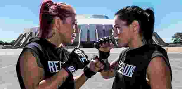 Cyborg e Lansberg se encararam em promoção do UFC Brasília - Divulgação/UFC