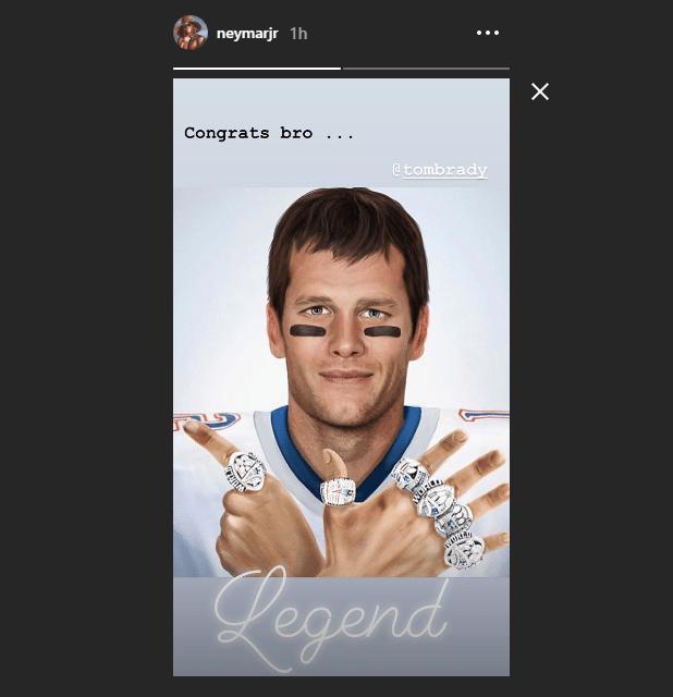 Neymar utilizou seu Instagram para parabenizar Tom Brady pela conquista do Super Bowl