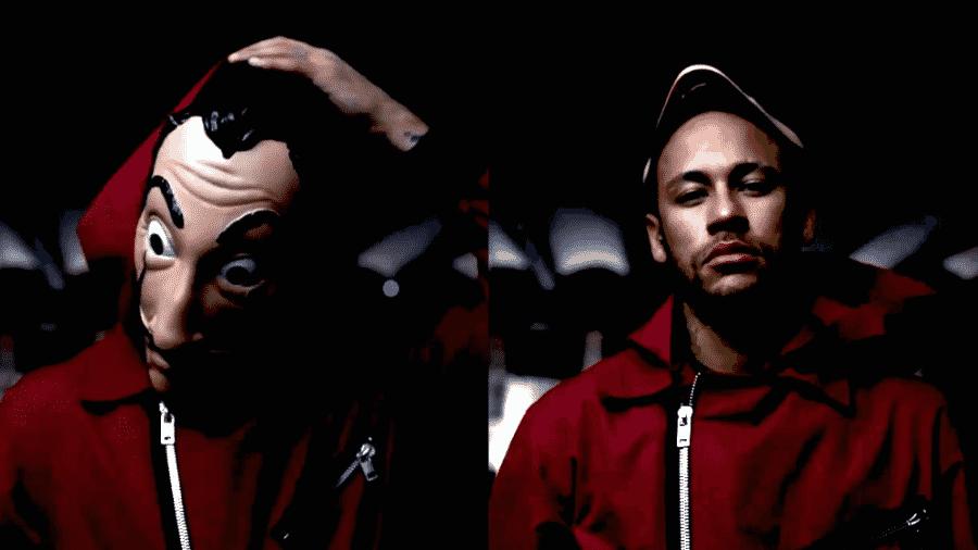 Neymar tira máscara em teaser de participação em La Casa de Papel - Reprodução/Twitter