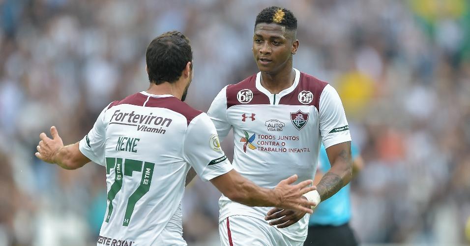 Yony Gonzalez comemora gol do Fluminense contra o Palmeiras