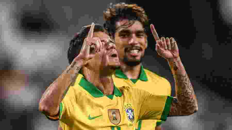 Coutinho comemora gol de falta durante amistoso da seleção brasileira contra a Coreia do Sul - Pedro Martins / MoWA Press