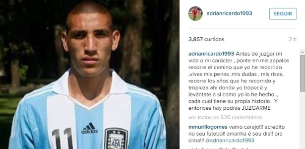 Centurión posta mensagem de desabafo no Instagram  - Reprodução/Instagram