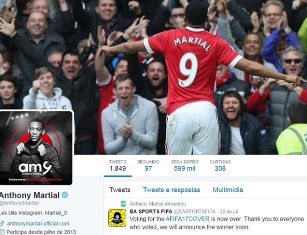 Anthony Martial teria ficado incomodado em perder a camisa 9 do United - Reprodução/Twitter