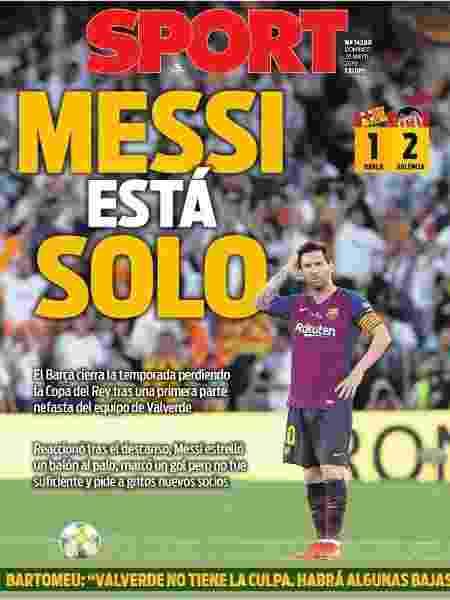"""Jornal """"Sport"""" mostra Messi isolado em sua capa - Reprodução/Sport"""