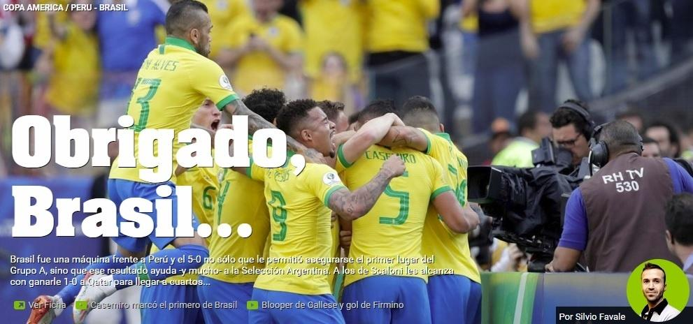Jornal Olé agradece Brasil por goleada que beneficia seleção argentina