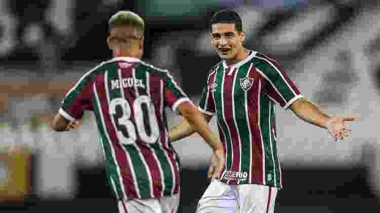 Michel Araújo celebra gol do Fluminense com Miguel - Lucas Merçon / Fluminense F.C. - Lucas Merçon / Fluminense F.C.