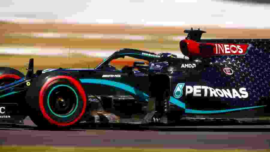 Lewis Hamilton, da Mercedes, nos treinos livres do GP dos 70 Anos da F1 - LAT Images/Mercedes