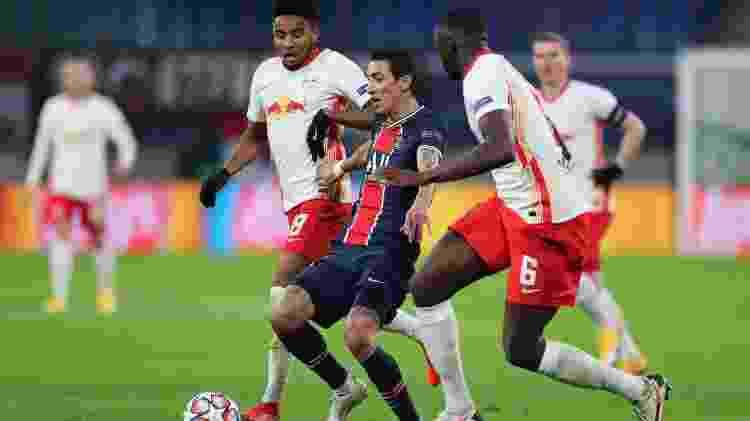 Di María PSG x Leipzig - UEFA via Getty Images - UEFA via Getty Images