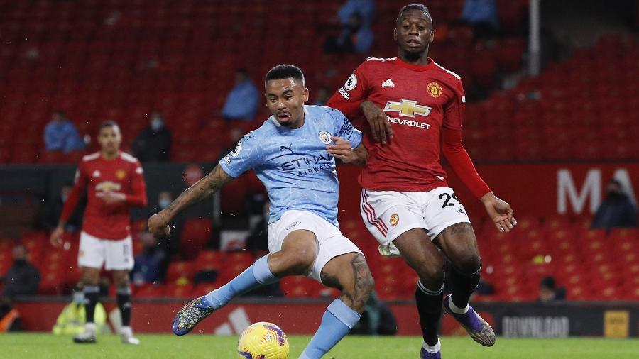 Gabriel Jesus, durante partida entre Manchester City e Manchester United - REUTERS/Phil Noble