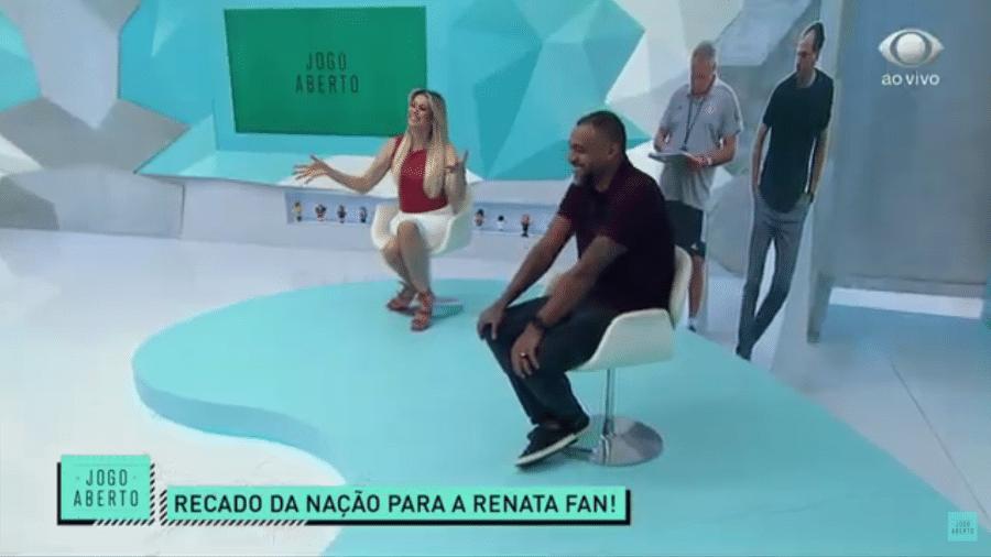 Denílson e Renata Fan, no Jogo Aberto, da TV Band - Reprodução/TV Band
