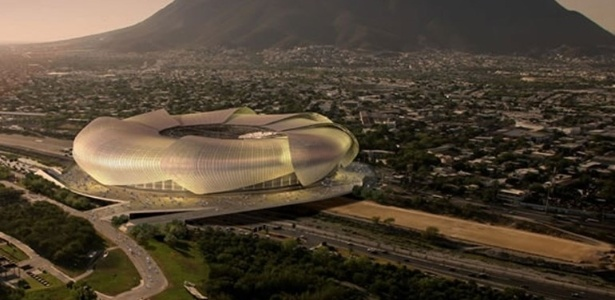 Imagem mostra como seria o estádio do Tigres sobre um rio em Monterrey