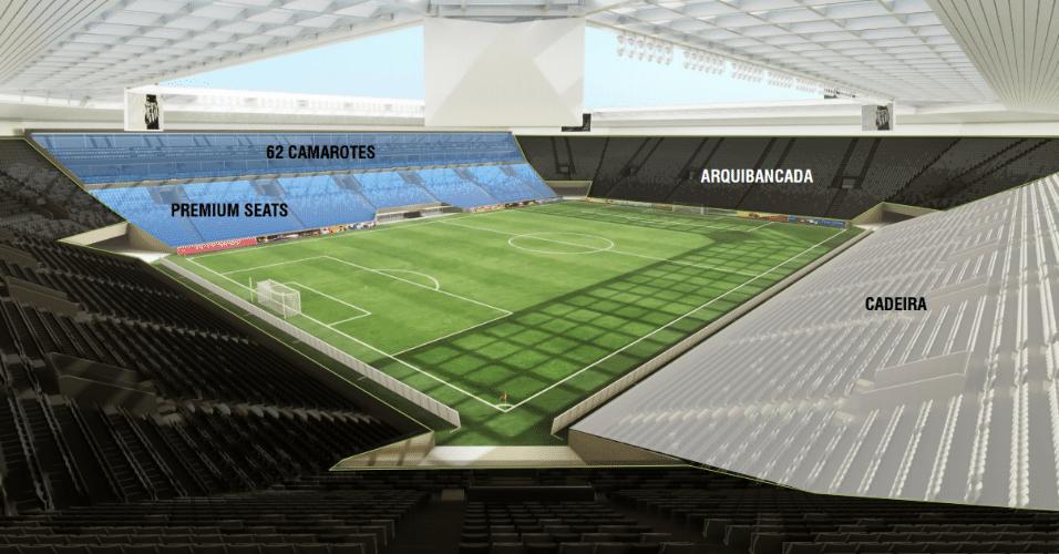 Visão interna do projeto da Arena Santos