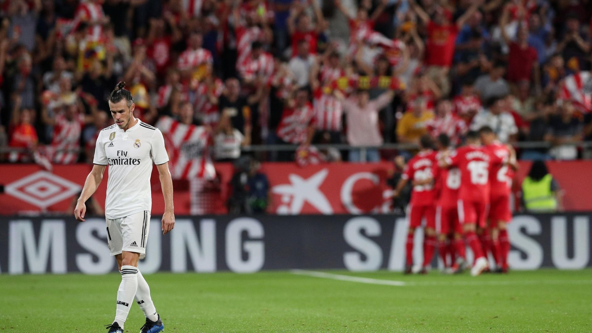 Gareth Bale lamenta o gol marcado por Borja Garcia, do Girona, em duelo válido pelo Campeonato Espanhol