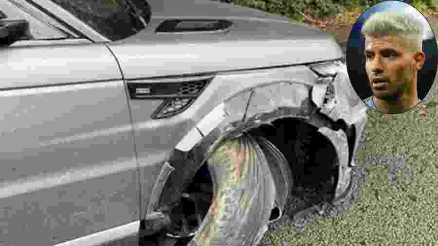 Argentino publicou em seu Instagram uma imagem do carro parcialmente destruído - Reprodução/Instagram / Montagem UOL