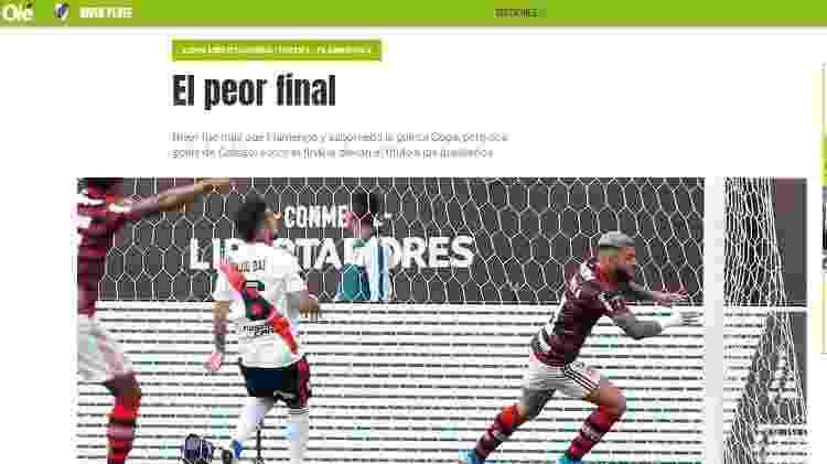 Jornal argentino diz que River era melhor que Flamengo - Reprodução/ole.com.ar - Reprodução/ole.com.ar
