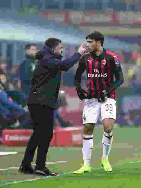 Lucas Paqueta conversa com Gennaro Gattuso - Marco Canoniero/LightRocket via Getty Images - Marco Canoniero/LightRocket via Getty Images
