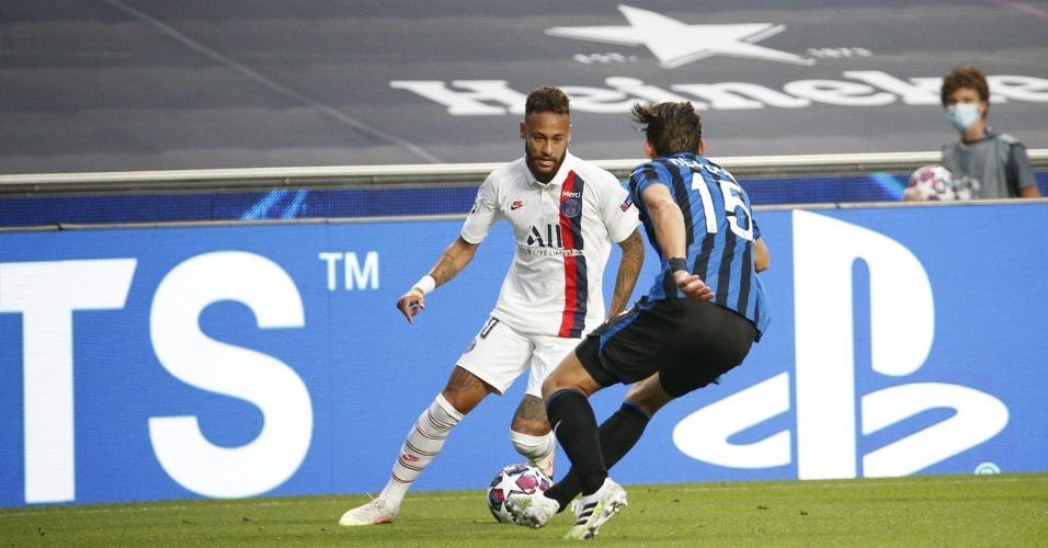 Neymar, na vitória do PSG sobre a Atalanta nas quartas de final da Liga dos Campeões de 2019/20