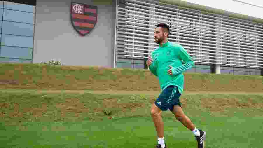 Lateral chileno Mauricio Isla corre em volta do campo do Ninho do Urubu, CT do Flamengo - Alexandre Vidal/Flamengo