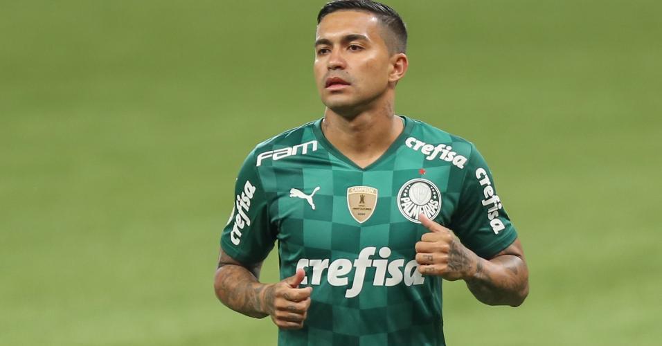 Dudu voltou a vestir a camisa do Palmeiras ao reestrear na vitória por 3 a 2 sobre o Santos, pelo Brasileirão