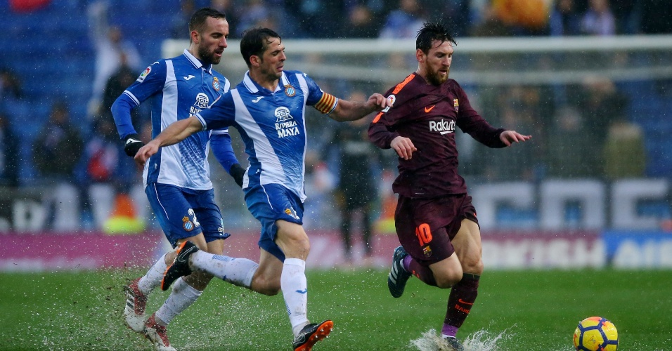 Marcação dulpa do Espanyol sobre Messi