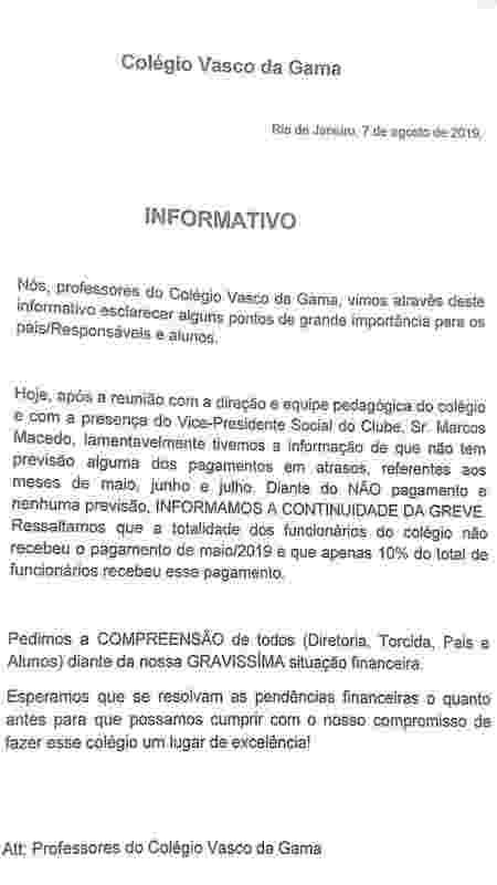 Professores do Colégio Vasco da Gama informaram que mantiveram a greve por conta dos atrasados - Divulgação