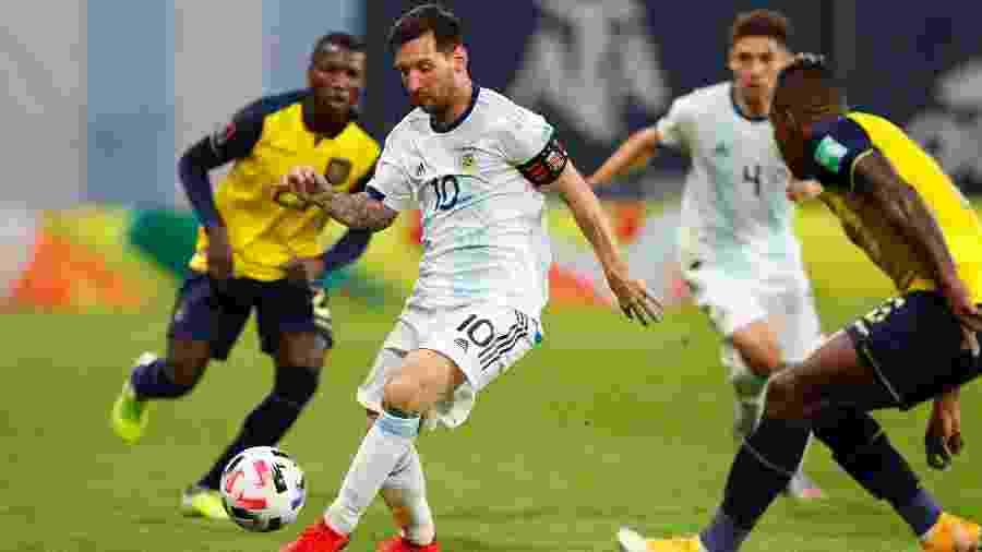 Lionel Messi na partida entre Argentina e Equador, pelas Eliminatórias para a Copa de 2022 - Getty Images