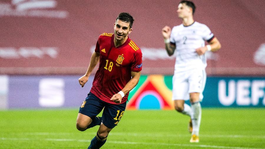 Ferrán Torres anotou três gols na goleada por 6 a 0 da Espanha contra a Alemanha, pela Liga das Nações - Europa Press via Getty Images