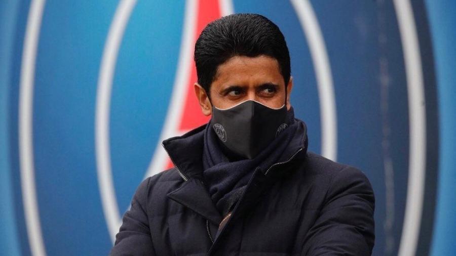 Nasser al-Khelaifi, presidente do PAris Saint-Germain, acompanhou o treino coletivo do time - Reprodução/Twitter