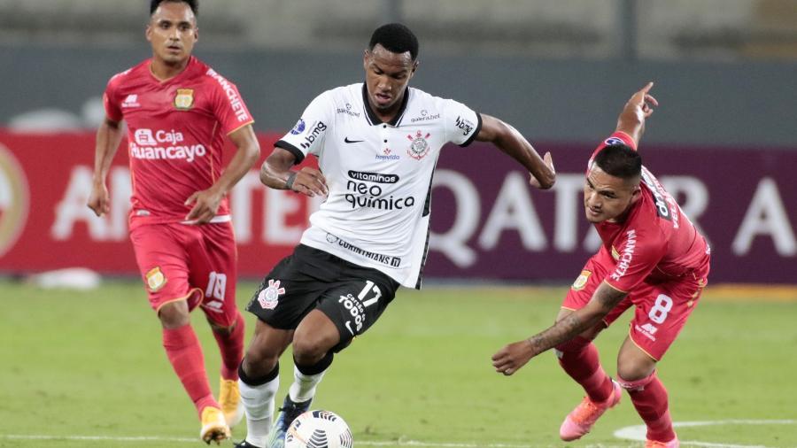Cauê em ação pelo Corinthians contra o Sport Huancayo-PER, pela Sul-Americana -  Rodrigo Coca/Agência Corinthians
