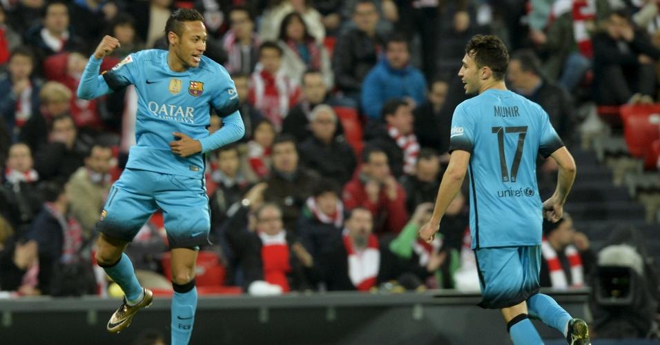 Neymar comemora o seu gol pelo Barcelona contra o Athletic Bilbao pela Copa do Rei