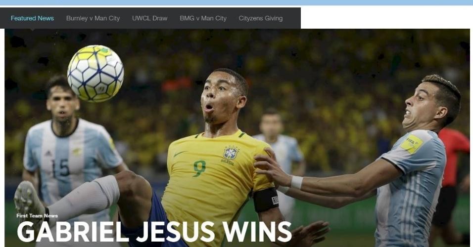 Gabriel Jesus é destaque no site oficial do Manchester City após título palmeirense