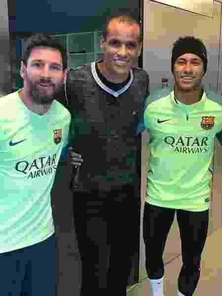 Rivaldo ao lado de Messi e Neymar em 2017 - Reprodução/Instagram