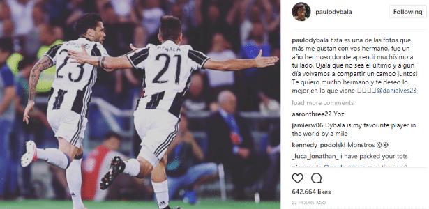 Mensagem de despedida de Dybala para Dani Alves no Instagram
