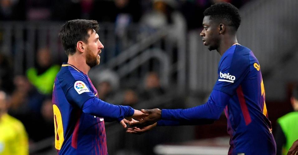 Dembélé entra no lugar de Messi no jogo entre Barcelona e Celta