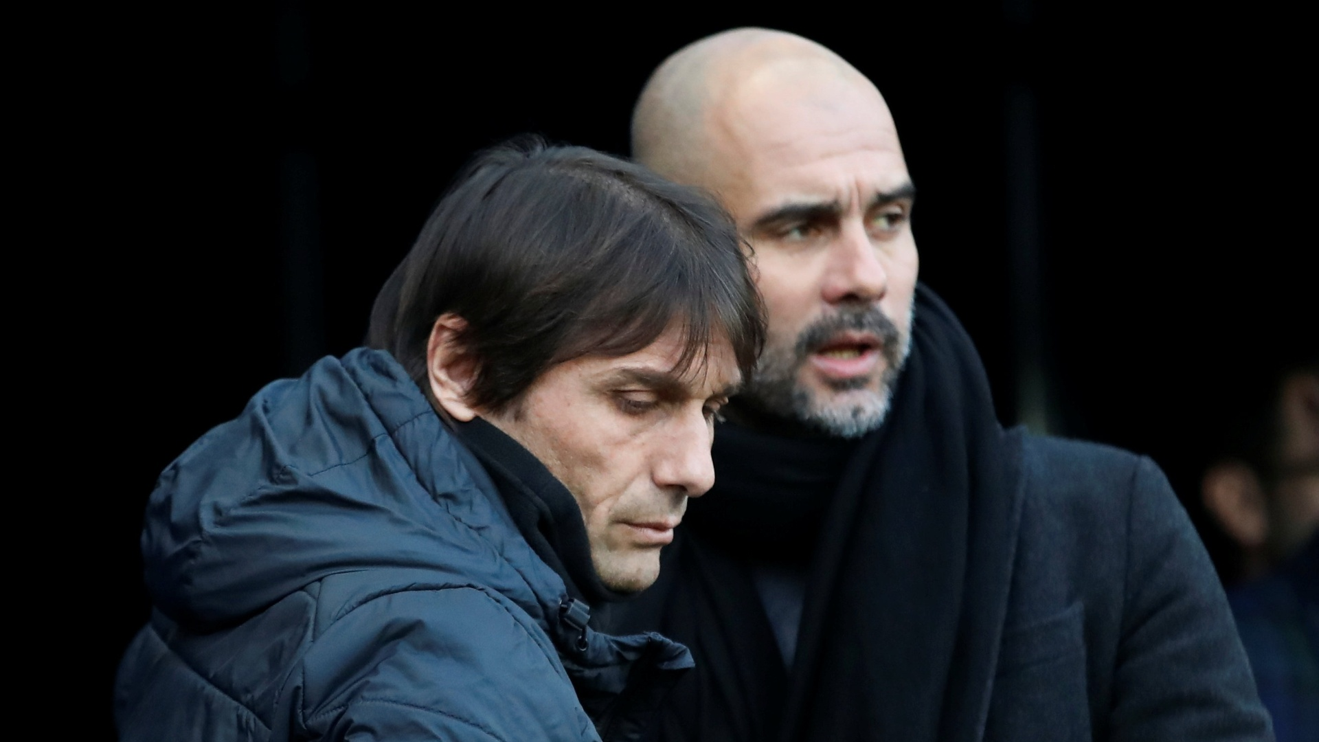 Antonio Conte, do Chelsea, e Pep Guardiola, do Manchester City