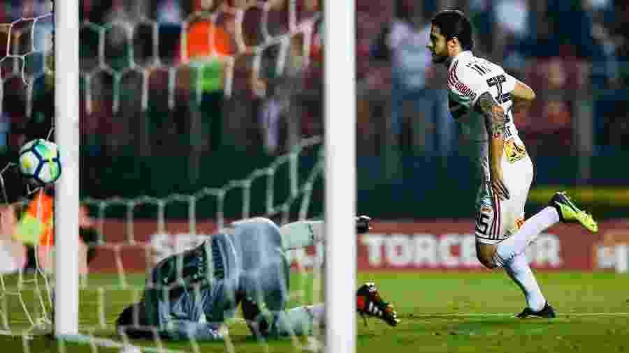 Hudson comemora gol do São Paulo contra a Chapecoense no Morumbi, no Brasileirão de 2018 - Alexandre Schneider/Getty Images