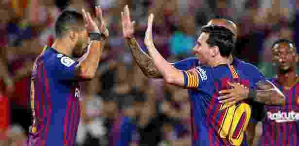 Messi comemora seu gol em Barcelona x Girona - Albert Gea/Reuters - Albert Gea/Reuters