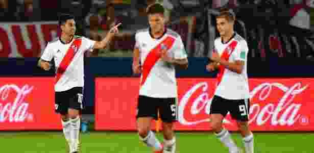 Pity Martinez marcou o segundo gol em sua despedida do clube argentino neste sábado - Giuseppe Cacace/AFP