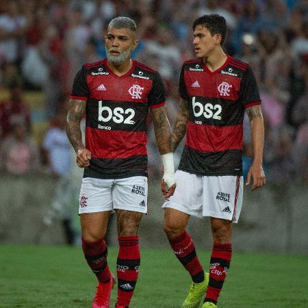 Gabigol e Pedro, atacantes do Flamengo, durante partida do clube em 2020 - Alexandre Vidal & Paula Reis / Flamengo