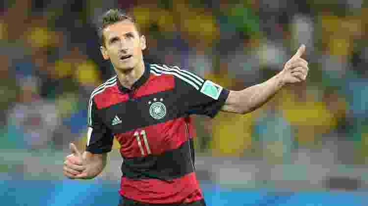 Klose, da Alemanha, durante semifinal da Copa de 2014 contra o Brasil - Thomas Eisenhuth/picture alliance via Getty Images - Thomas Eisenhuth/picture alliance via Getty Images