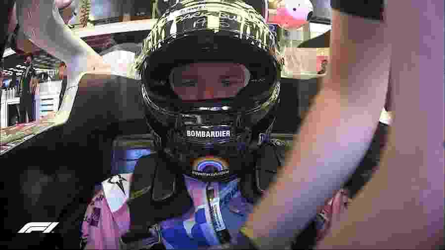 Nico Hulkenberg no cockpit da Racing Point durante treino livre em Silverstone - Reprodução