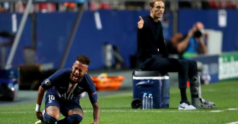 Neymar grita com dores após sofrer falta na final da Champions