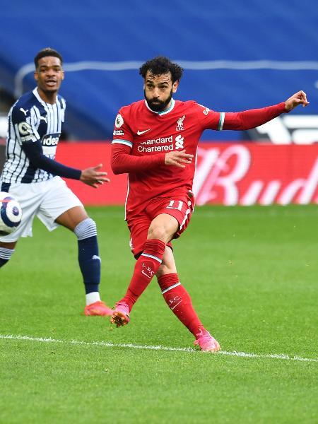 Salah, durante partida entre Liverpool e West Brom, pelo Campeonato Inglês - Andrew Powell/Liverpool FC via Getty Images