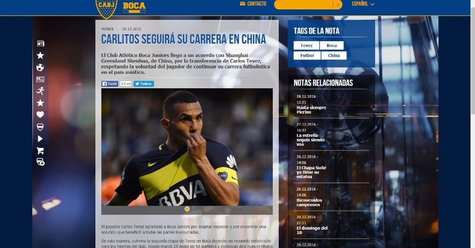 Site do Boca Juniors anuncia saída de Tevez para o futebol chinês