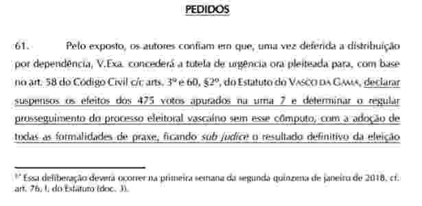 Decisão judicial sobre urna 7 do Vasco - Reprodução - Reprodução