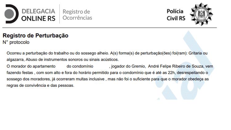 """Boletim de Ocorrência contra centroavante André, do Grêmio, por """"perturbação"""" - Reprodução - Reprodução"""