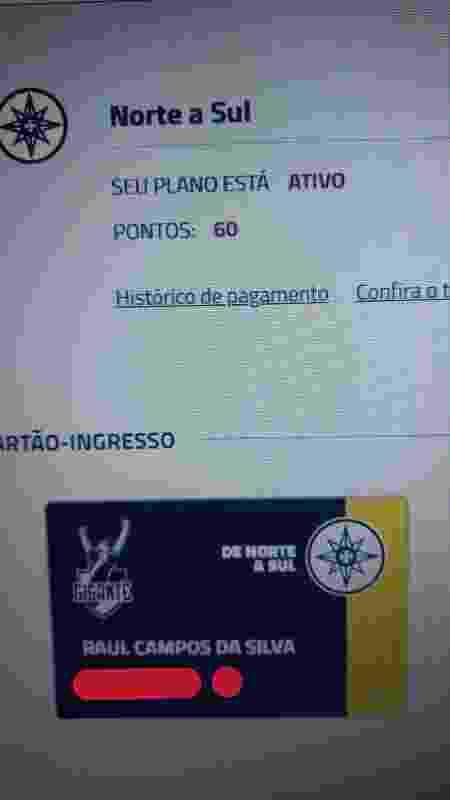 Carteirinha de sócio-torcedor do pequeno Raul, registrado no Vasco com menos de 24 horas de vida - Arquivo pessoal - Arquivo pessoal