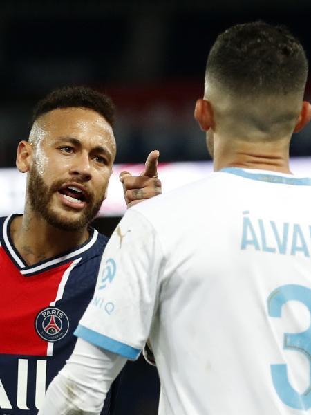 Neymar discute com Álvaro González durante jogo entre PSG x Olympique - Gonzalo Fuentes/Reuters