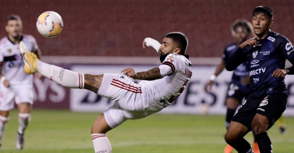 Gabigol, do Flamengo, durante partida contra o Independiente del Valle pela Libertadores 2020