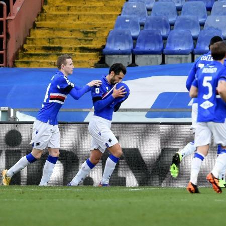 Antonio Candreva comemora gol da Sampdoria contra a Inter de Milão - REUTERS/Jennifer Lorenzini